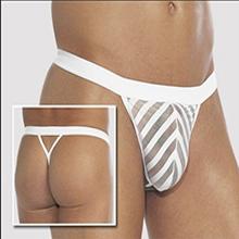 男士斜條紋鏤空性感T字褲 (白),貨號:NO.533599,價格:135