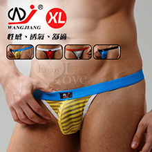 【網將WJ】條紋網紗半透明性感丁字褲﹝黃 XL﹞