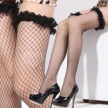 極致魅惑!立體荷葉網紗花邊性感大腿網襪﹝黑﹞,貨號:NO.535309,價格:88