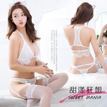 《YIRAN MEI》甜漾狂想!睫毛蕾絲邊設計吊襪帶四件套裝﹝白﹞,貨號:NO.531144,價格:420