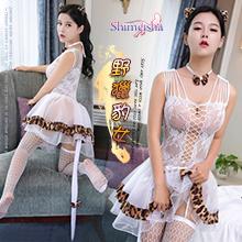 《SHIMEISHA》野獵豹女!拼接紗裙吊襪帶遊戲網衣套裝﹝白﹞,貨號:NO.531439,價格:399