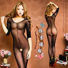探索嬌軀!七分袖薄透誘惑開檔絲襪連身衣,貨號:NO.500138,價格:165