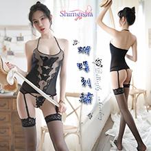 《SHIMEISHA》絲襪連身衣!吊襪帶蝴蝶刺繡裸透三件組,貨號:NO.500164,價格:280